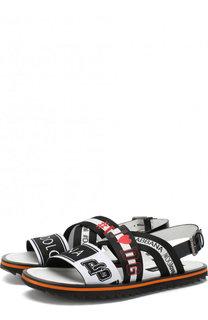 Кожаные сандалии с тройной фирменной лентой Dolce & Gabbana
