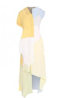 Шелковое платье-миди асимметричного кроя Loewe