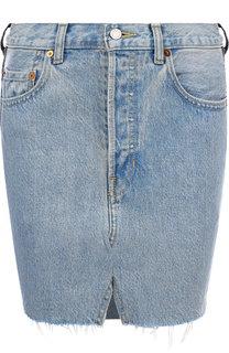 Джинсовая мини-юбка с потертостями Vetements