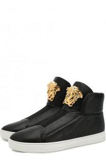 Высокие кожаные кеды с эластичной вставкой Versace