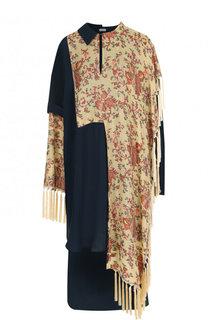 Платье-миди асимметричного кроя с бахромой Loewe