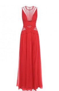 Шелковое платье-макси с декоративной отделкой Zuhair Murad