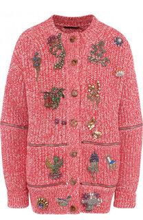 Кардиган из смеси хлопка и шерсти с декоративной отделкой Alexander McQueen