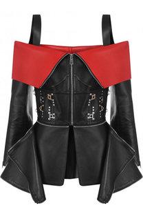 Кожаный жакет на молнии с декоративной отделкой Alexander McQueen