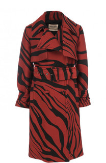 Пальто из смеси хлопка и шелка с поясом и принтом Roberto Cavalli