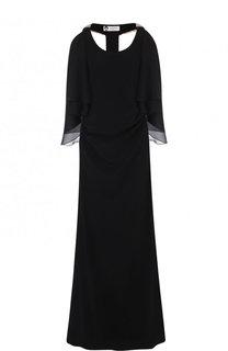 Однотонное платье-макси с высоким разрезом и оборками Lanvin
