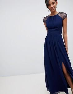 Темно-синее платье макси с отделкой на рукавах Little Mistress - Темно-синий