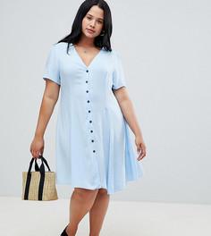 Чайное платье со сборками на рукавах New Look Curve - Синий