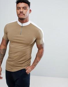 Коричневая облегающая футболка с высоким воротом, молнией и контрастными вставками ASOS DESIGN - Мульти