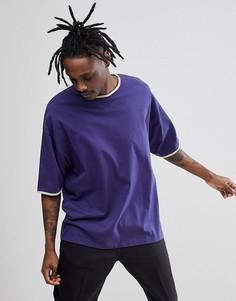 Фиолетовая oversize-футболка с окантовкой ASOS DESIGN - Мульти