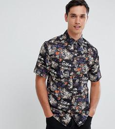Рубашка с короткими рукавами и тропическим принтом D-Struct TALL - Черный