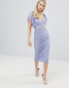 Кружевное платье-футляр миди с оборками на рукавах ASOS DESIGN - Синий