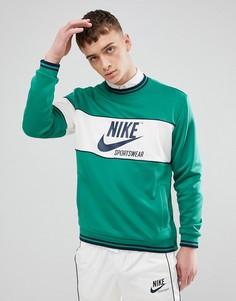Зеленый лонгслив Nike Archive AH0715-368 - Зеленый