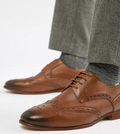 Светло-коричневые кожаные броги для широкой стопы KG By Kurt Geiger - Рыжий