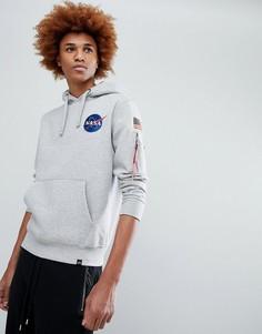 Худи серого меланжевого цвета с принтом космического корабля на спине Alpha Industries - Серый