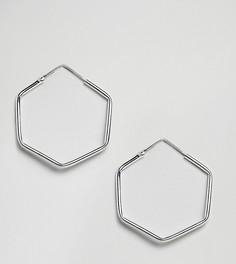 Серебряные серьги-кольца шестиугольной формы Kingsley Ryan - Серебряный