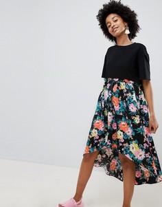 Свободное платье мини с принтом и асимметричным краем ASOS DESIGN - Мульти