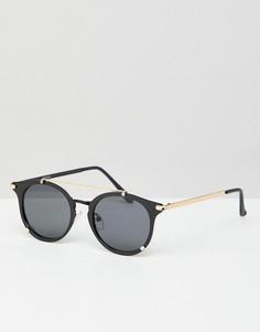 Черные круглые солнцезащитные очки с золотистой отделкой ASOS DESIGN - Черный