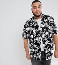 Свободная рубашка с гавайским принтом ASOS DESIGN Рlus - Черный