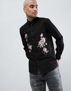 Джинсовая рубашка с цветочной вышивкой ASOS DESIGN - Черный