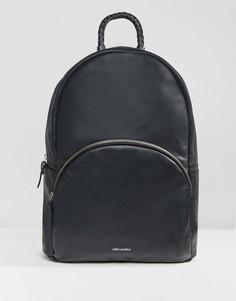 Черный кожаный рюкзак с логотипом ASOS DESIGN - Черный