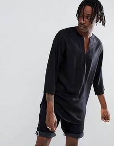 Черная удлиненная рубашка классического кроя из вискозы с V-образным вырезом ASOS DESIGN - Черный