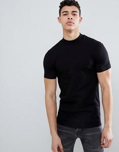 Черная облегающая футболка с высоким воротом ASOS DESIGN - Черный