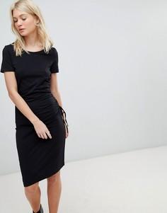 Платье миди с присборенной драпировкой сбоку Vero Moda - Черный