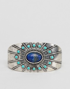 Серебристый массивный браслет-манжета с камнями ASOS DESIGN - Серебряный