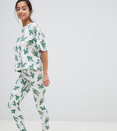 Пижамный комплект из леггинсов и футболки с принтом ASOS DESIGN Petite - Мульти