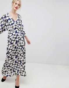 Платье макси с рукавами-кимоно и цветочным принтом Liquorish - Мульти