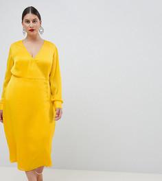 Жаккардовое платье на пуговицах ASOS DESIGN Curve - Желтый