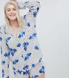 Пижамный комплект с шортами из 100% модала ASOS DESIGN Curve - Белый