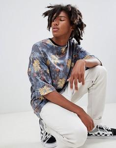 Длинная фактурная oversize-футболка с цветочным принтом ASOS DESIGN - Мульти