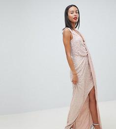 Платье макси с драпировкой и пайетками ASOS DESIGN Tall - Мульти