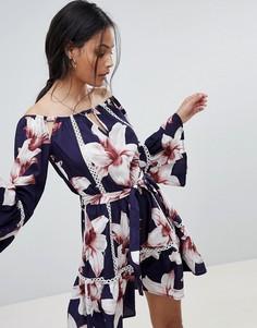 Платье с цветочным принтом и открытыми плечами Parisian - Темно-синий