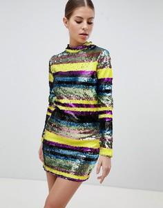 Облегающее платье мини с длинными рукавами и разноцветными пайетками Club L - Мульти