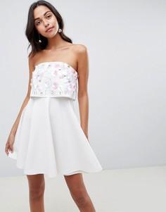Короткое платье-бандо с декоративной отделкой ASOS DESIGN - Белый