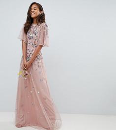 Платье макси из сетчатой ткани добби с цветочной вышивкой и расклешенными рукавами ASOS DESIGN Tall - Розовый
