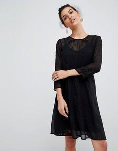 Кружевное платье с вышивкой Y.A.S - Черный