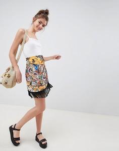 Мини-юбка с запахом и платочным принтом ASOS DESIGN - Мульти