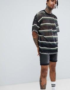 Сетчатая oversize-футболка в полоску ASOS DESIGN - Черный