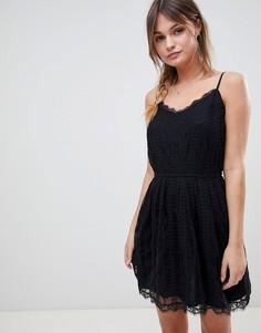Платье с сетчатой отделкой и бретельками Abercrombie & Fitch - Черный