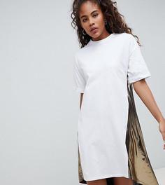 Платье-футболка с удлиненной вставкой металлик сзади ASOS DESIGN Tall - Мульти