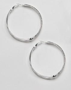 Серебристые серьги-кольца со стразами River Island - Белый