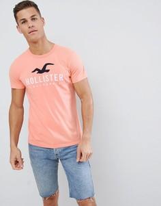 приталенная рубашка с большим логотипом Hollister Iconic - Розовый