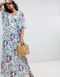 Платье макси с рукавами кимоно и принтом Ghost - Мульти