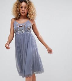 Платье из тюля с вышивкой New Look Рetite - Серый