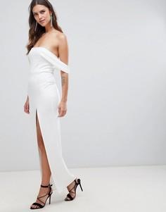 Платье макси с бретельками и широким вырезом ASOS DESIGN - Белый