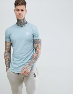 Синяя удлиненная футболка Gym King - Синий